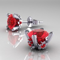 Modern 14K White Gold 1.5 Ct Ruby Stud Earrings E137-14KWGR