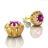 Modern 14K Yellow Gold 1.0 Ct Amethyst Crown Stud Earrings E304-14KYGSAM