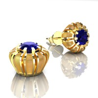 Modern 14K Yellow Gold 1.0 Ct Blue Sapphire Crown Stud Earrings E304-14KYGSBS
