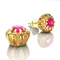 Modern 14K Yellow Gold 1.0 Ct Pink Sapphire Crown Stud Earrings E304-14KYGSPS