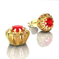 Modern 14K Yellow Gold 1.0 Ct Ruby Crown Stud Earrings E304-14KYGSR
