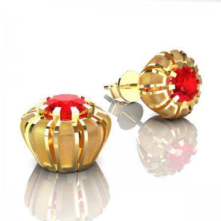Modern-14K-Yellow-Gold-1-0-Ct-Ruby-Crown-Stud-Earrings-E304P-14KYGSR-Art-Masters-Jewelry