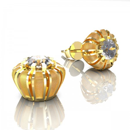 Modern-14K-Yellow-Gold-1-0-Ct-White-Sapphire-Crown-Stud-Earrings-E304P-14KYGSWS