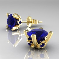 Modern 14K Yellow Gold 1.5 Ct Blue Sapphire Stud Earrings E137-14KYGBS