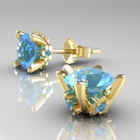 Modern 14K Yellow Gold 1.5 Ct Blue Topaz Stud Earrings E137-14KYGBT