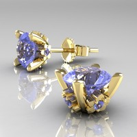 Modern 14K Yellow Gold 1.5 Ct Light Blue Sapphire Stud Earrings E137-14KYGLBS