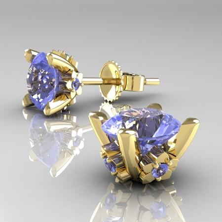 Modern-14K-Yellow-Gold-1-5-Carat-Light-Blue-Sapphire-Grape-Leaf-Stud-Earrings-E137-14KYGLBS