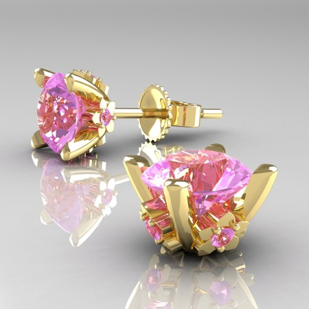 Modern-14K-Yellow-Gold-1-5-Carat-Light-Pink-Sapphire-Grape-Leaf-Stud-Earrings-E137-14KYGLPS