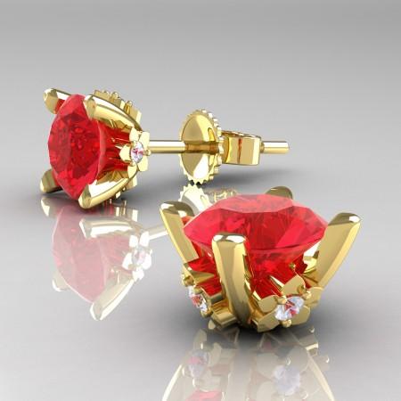 Modern-14K-Yellow-Gold-1-5-Carat-Light-Ruby-Diamond-Grape-Leaf-Stud-Earrings-E137-14KYGDR