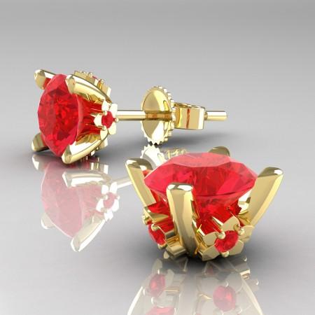 Modern-14K-Yellow-Gold-1-5-Carat-Light-Ruby-Grape-Leaf-Stud-Earrings-E137-14KYGR