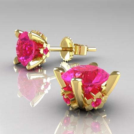 Modern-14K-Yellow-Gold-1-5-Carat-Pink-Sapphire-Grape-Leaf-Stud-Earrings-E137-14KYGPS