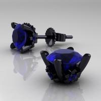 Modern 14K Black Gold 1.5 Ct Blue Sapphire Stud Earrings E137-14KBGBS