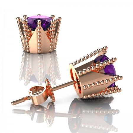 Modern-Armenian-14K-Rose-Gold-3-0-Carat-Amethyst-Crown-Stud-Earrings-E102L-14KRGAM-2-Art-Masters-Jewelry