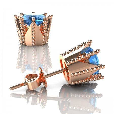 Modern-Armenian-14K-Rose-Gold-3-0-Carat-Blue-Topaz-Crown-Stud-Earrings-E102L-14KRGBT-Art-Masters-Jewelry