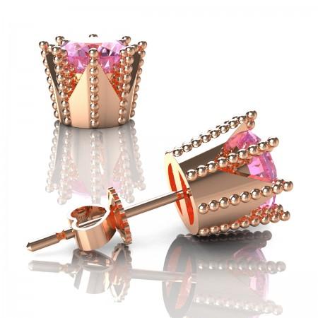 Modern-Armenian-14K-Rose-Gold-3-0-Carat-Light-Pink-Sapphire-Crown-Stud-Earrings-E102L-14KRGLPS-Art-Masters-Jewelry