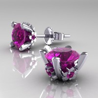 Modern 14K White Gold 1.5 Ct Amethyst Stud Earrings E137-14KWGAM
