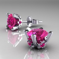 Modern 14K White Gold 1.5 Ct Pink Sapphire Stud Earrings E137-14KWGPS