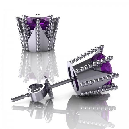 Modern-Armenian-14K-White-Gold-3-0-Carat-Amethyst-Crown-Stud-Earrings-E102L-14KWGAM-Art-Masters-Jewelry