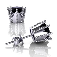 Modern 14K White Gold 3.0 Ct Black Diamond Crown Stud Earrings E112L-14KWGBD