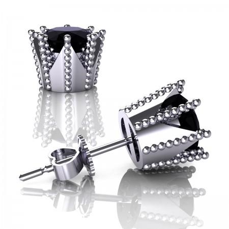 Modern-Armenian-14K-White-Gold-3-0-Carat-Black-Diamond-Crown-Stud-Earrings-E102L-14KWGBD-Art-Masters-Jewelry