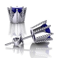 Modern 14K White Gold 3.0 Ct Blue Sapphire Crown Stud Earrings E112L-14KWGBS