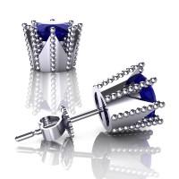 Modern 14K White Gold 3.0 Ct Blue Sapphire Crown Stud Earrings E112L-14KWGBS