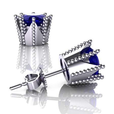Modern-Armenian-14K-White-Gold-3-0-Carat-Blue-Sapphire-Crown-Stud-Earrings-E102L-14KWGBS-Art-Masters-Jewelry