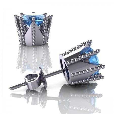 Modern-Armenian-14K-White-Gold-3-0-Carat-Blue-Topaz-Crown-Stud-Earrings-E102L-14KWGBT-Art-Masters-Jewelry