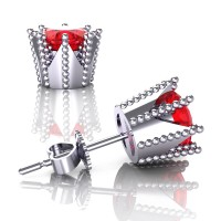 Modern 14K White Gold 3.0 Ct Ruby Crown Stud Earrings E112L-14KWGR