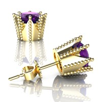 Modern 14K Yellow Gold 3.0 Ct Amethyst Crown Stud Earrings E112L-14KYGAM