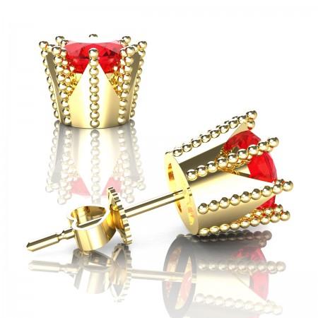Modern-Armenian-14K-Yellow-Gold-3-0-Carat-Ruby-Crown-Stud-Earrings-E102L-14KYGR-Art-Masters-Jewelry