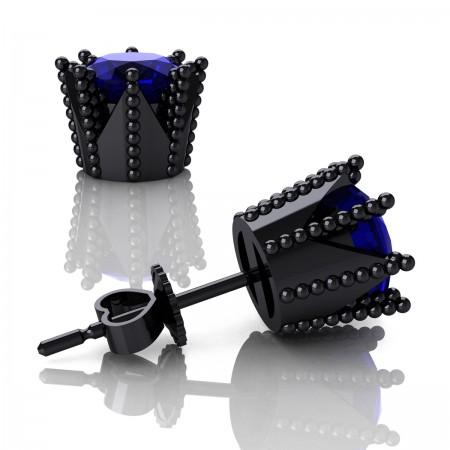 Modern-Avant-Garde-14K-Black-Gold-3-0-Carat-Blue-Sapphire-Crown-Stud-Earrings-E102L-14KBGBS-Art-Masters-Jewelry