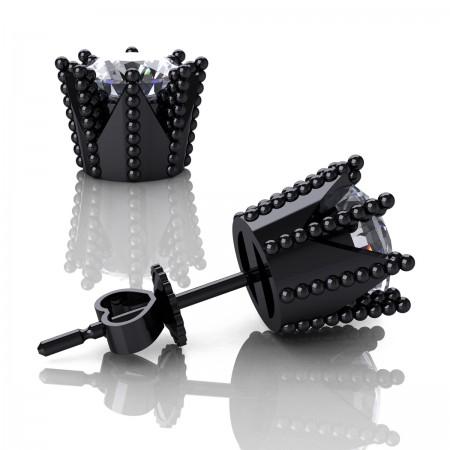 Modern-Avant-Garde-14K-Black-Gold-3-0-Carat-Diamond-Crown-Stud-Earrings-E102L-14KBGD-Art-Masters-Jewelry
