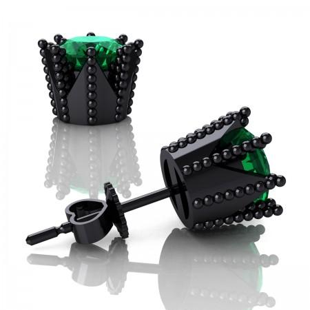 Modern-Avant-Garde-14K-Black-Gold-3-0-Carat-Emerald-Crown-Stud-Earrings-E102L-14KBGEM-Art-Masters-Jewelry