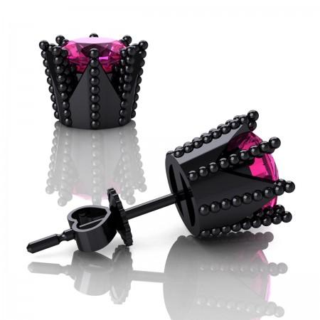 Modern-Avant-Garde-14K-Black-Gold-3-0-Carat-Pink-Sapphire-Crown-Stud-Earrings-E102L-14KBGPS-Art-Masters-Jewelry