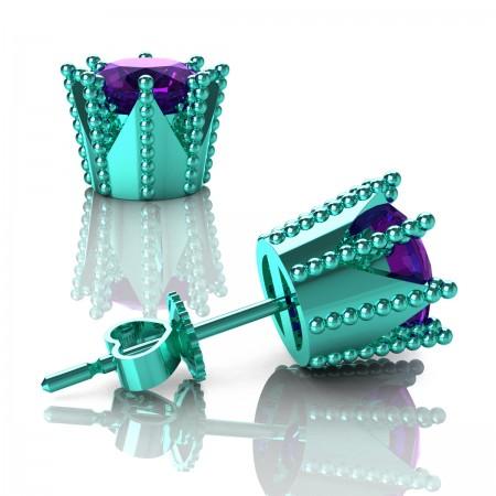 Modern-Avant-Garde-14K-Cyan-Gold-3-0-Carat-Amethyst-Crown-Stud-Earrings-E102L-14KCGAM-Art-Masters-Jewelry
