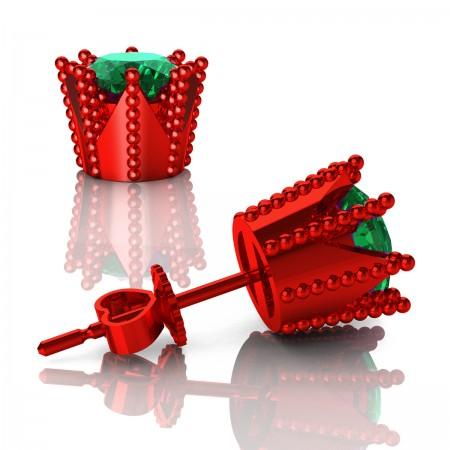 Modern-Avant-Garde-14K-Red-Gold-3-0-Carat-Emerald-Crown-Stud-Earrings-E102L-14KREGEM-Art-Masters-Jewelry