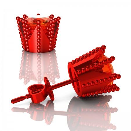 Modern-Avant-Garde-14K-Red-Gold-3-0-Carat-Orange-Sapphire-Crown-Stud-Earrings-E102L-14KREGOS-Art-Masters-Jewelry