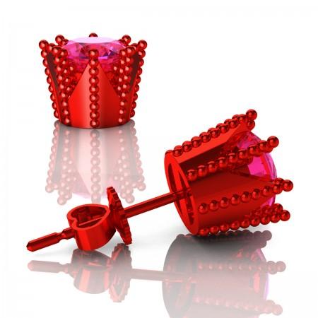 Modern-Avant-Garde-14K-Red-Gold-3-0-Carat-Pink-Sapphire-Crown-Stud-Earrings-E102L-14KRGPS-Art-Masters-Jewelry
