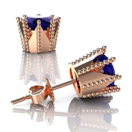 Modern-Avant-Garde-14K-Rose-Gold-3-0-Carat-Blue-Sapphire-Crown-Stud-Earrings-E102L-14KRGBS-2-Art-Masters-Jewelry