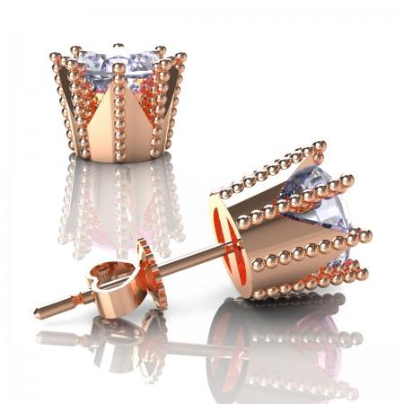 Modern-Avant-Garde-14K-Rose-Gold-3-0-Carat-Diamond-Crown-Stud-Earrings-E102L-14KRGD-Art-Masters-Jewelry