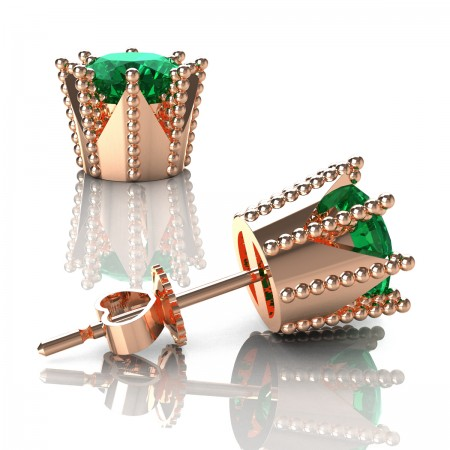 Modern-Avant-Garde-14K-Rose-Gold-3-0-Carat-Emerald-Crown-Stud-Earrings-E102L-14KRGEM-Art-Masters-Jewelry