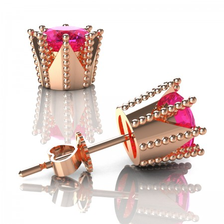 Modern-Avant-Garde-14K-Rose-Gold-3-0-Carat-Pink-Sapphire-Crown-Stud-Earrings-E102L-14KRGPS-2-Art-Masters-Jewelry