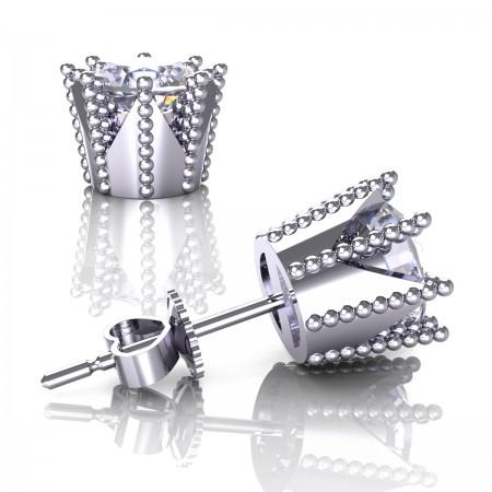 Modern-Avant-Garde-14K-White-Gold-3-0-Carat-Diamond-Crown-Stud-Earrings-E102L-14KWGD-Art-Masters-Jewelry