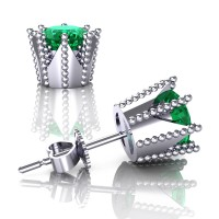 Modern 14K White Gold 3.0 Ct Emerald Crown Stud Earrings E112L-14KWGEM