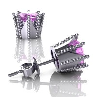 Modern 14K White Gold 3.0 Ct Light Pink Sapphire Crown Stud Earrings E112L-14KWGLPS