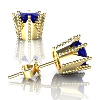Modern 14K Yellow Gold 3.0 Ct Blue Sapphire Crown Stud Earrings E112L-14KYGBS