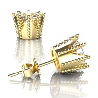 Modern 14K Yellow Gold 3.0 Ct White Sapphire Crown Stud Earrings E112L-14KYGWS