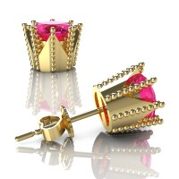 Modern 14K Yellow Gold 3.0 Ct Pink Sapphire Crown Stud Earrings E112L-14KYGPS