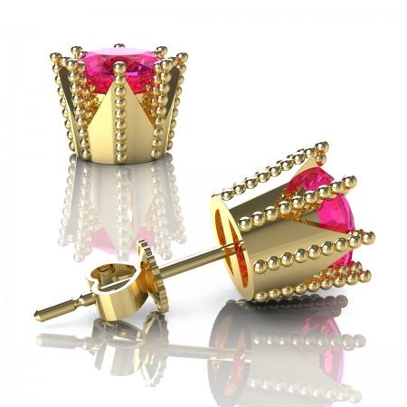 Modern-Avant-Garde-14K-Yellow-Gold-3-0-Carat-Pink-Sapphire-Crown-Stud-Earrings-E102L-14KYGSPS-Art-Masters-Jewelry